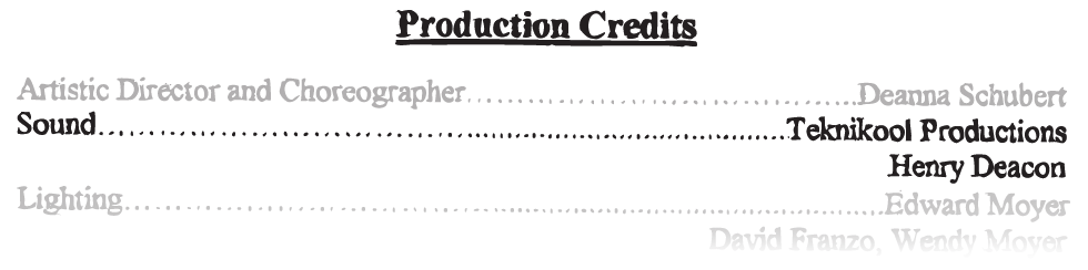 Production Credits Sound teknikool productions